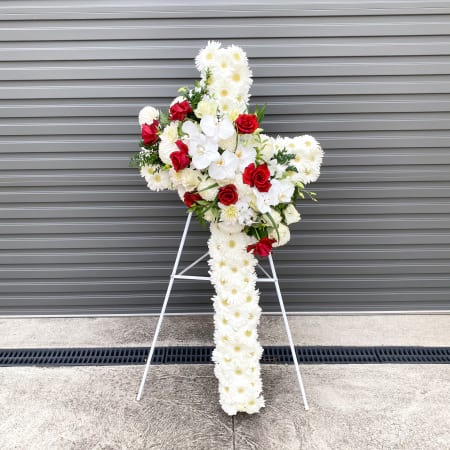 Floral Sympathy Cross with Red Roses