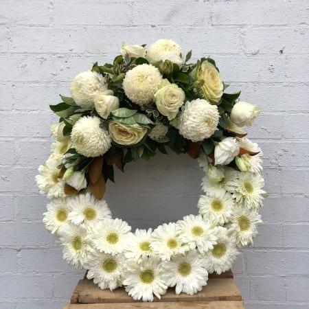 White Gerbera based wreath