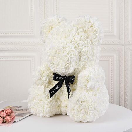 Everlasting White Rose Bear